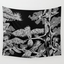 Japanese Birds Inverted Wall Tapestry