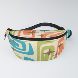 Mid Century Modern Cosmic Galaxies 726 Orange Turquoise and Chartreuse Fanny Pack