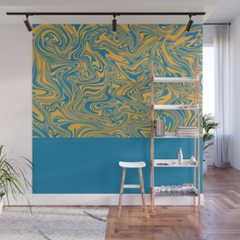 Liquid Swirl - Hawaiian Surf Blue and Citrus Yellow Wall Mural
