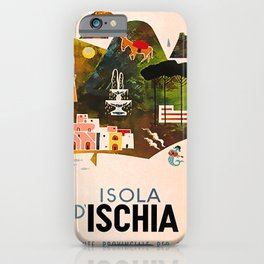 retro iconic Isola Ischia poster iPhone Case