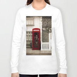 Red Telephone Booth Sepia Spot Color Photography Long Sleeve T-shirt