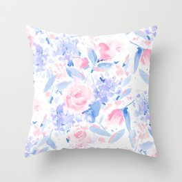 Scattered Lovers Blue on White Throw Pillow