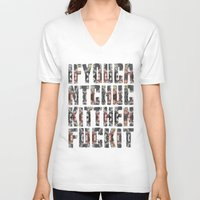 chuck V-neck T-shirts featuring Chuck Yeah!  by MistyAnn @ What the F-stop Prints