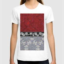 Cracked Red & Burgundy Marble,; B & W Stained Glass Ribbon; Red & Blue on White Cracked Glass on Bot T-shirt