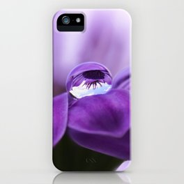 Violet flower with drops 262 iPhone Case
