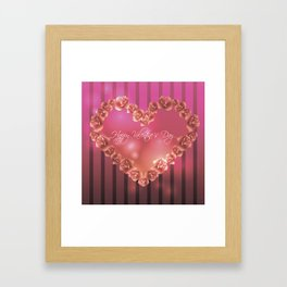 Illustration for Valentines day with heart shaped frame with roses Framed Art Print