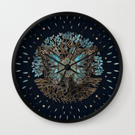 Flower of Life - Tree of life - Butterfly Wall Clock
