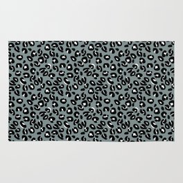 Grey and Black Leopard Spots Animal Print Pattern Rug
