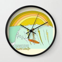 surf legend gerry lopez lightning bolt retro surf art by surfy birdy Wall Clock