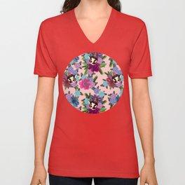 Floral Cat - Rose Quartz Unisex V-Neck