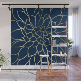 Floral Prints, Line Art, Navy Blue and Gold Wall Mural