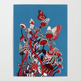 Magic Mushroom Red black blue Poster