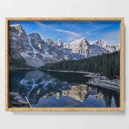 Reflections in the morning at lake Moraine Serving Tray