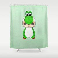 yoshi Shower Curtains featuring A Boy - Yoshi by Christophe Chiozzi