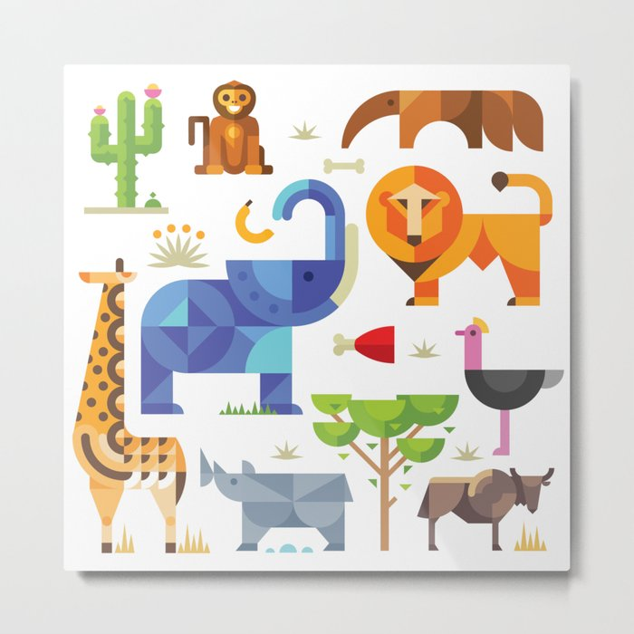 Geometric animals in savannah Metal Print