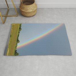 Rainbow over Farm Field Rug