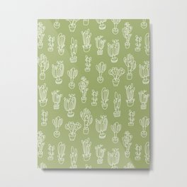 Abstract Expressionism Garden Cactus Line Art Pattern Metal Print
