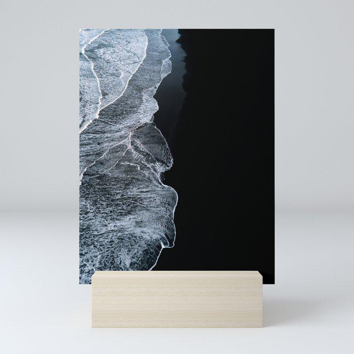 Waves on a black sand beach in iceland - minimalist Landscape Photography Mini Art Print