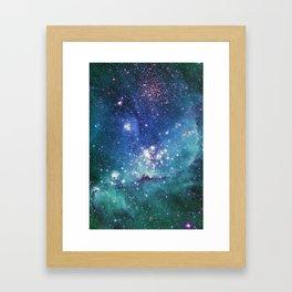 Turquoise Star Galaxy Framed Art Print