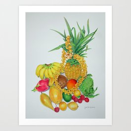 Tropical Fruit with Lei Art Print