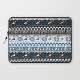 Pew Pew Gun Ugly Christmas Sweater Pattern Laptop Sleeve