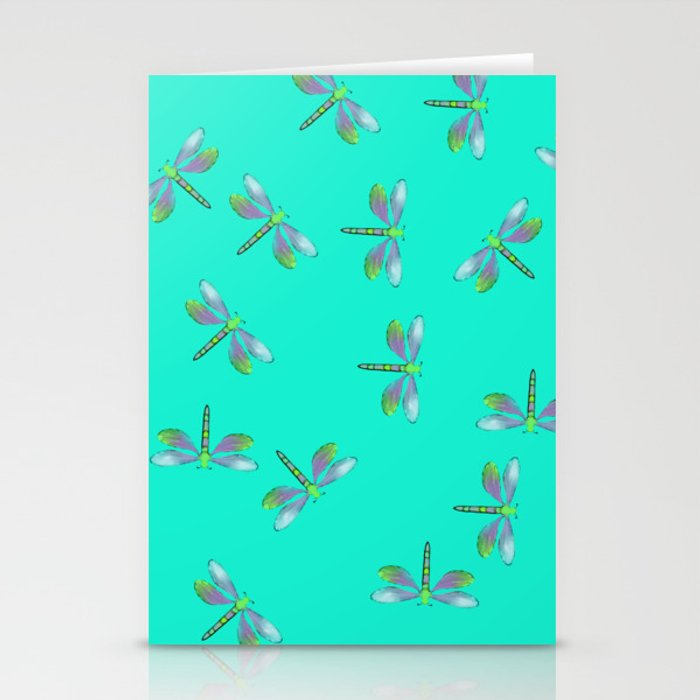 Dragonflies In Aqua and Purple Stationery Cards