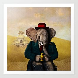 Mr. Preston J. Pachyderm visits the Sphinx Art Print