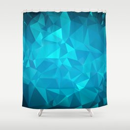 Blue Polygonal Mosaic Shower Curtain