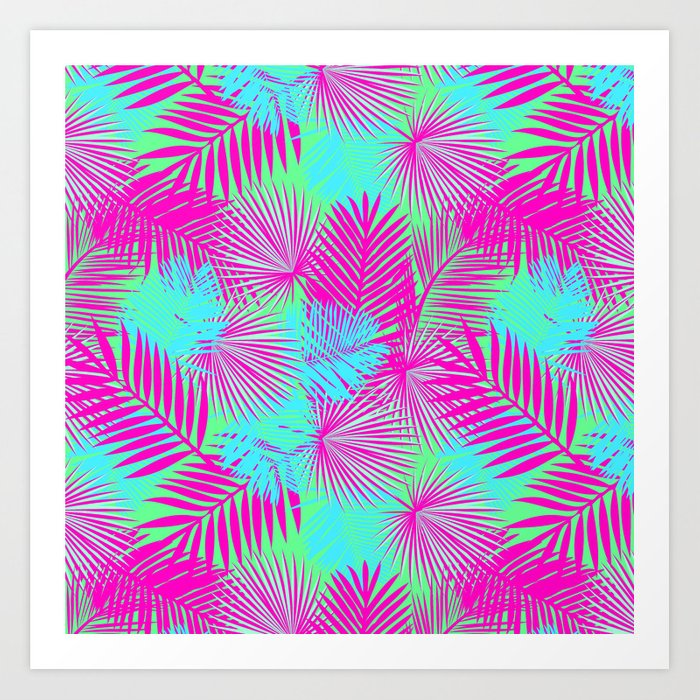 Neon Pink & Blue Tropical Print Art Print