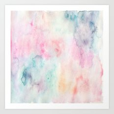 Chic Pink and Blue Watercolor Wash Art Print