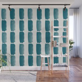 Tropical Dark Teal Grid Brushstrokes Vertical Line Pattern Inspired by Sherwin Williams 2020 Trending Color Oceanside SW6496 on Off White Wall Mural