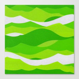 Waves - Lime Green Canvas Print