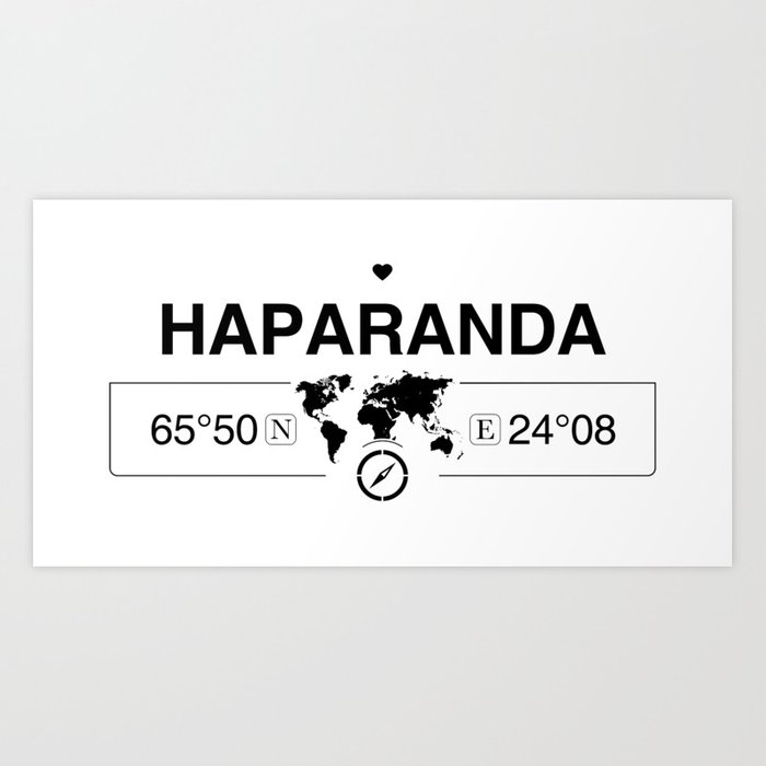 Haparanda Norrbotten with World Map GPS Coordinates Art Print by  map-your-world