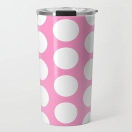 White circles on pink Travel Mug