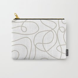 Doodle Line Art   Warm Gray/Beige Lines on White Background Carry-All Pouch