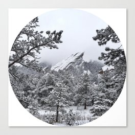 Boulder Colorado Flatirons In Snow Canvas Print