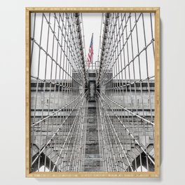 The Brooklyn Bridge and American Flag Serving Tray