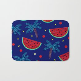 Tropical mosaic design on blue Bath Mat