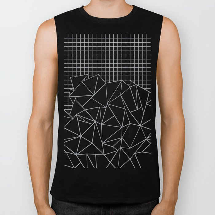 Abstract Outline Grid Grey Biker Tank