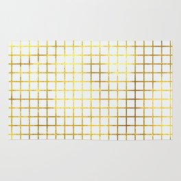 White & Gold Grid Rug