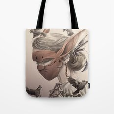 hare and sparrow Full colour  Tote Bag