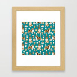 Rough Collie coffee pet portrait dog art by pet friendly latte coffee dog lover gifts Framed Art Print