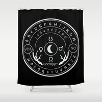 ouija Shower Curtains featuring Ouija by ANOMIC DESIGNS