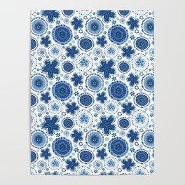Organic Medallions - Blue Poster