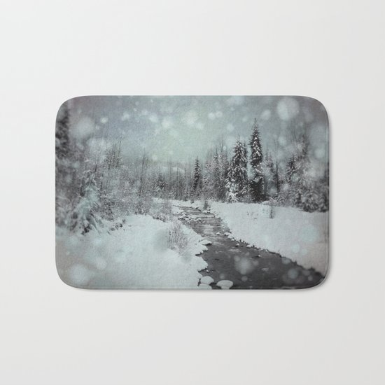 Blue Winter Landscape Bath Mat
