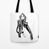 lindsay lohan Tote Bags featuring lindsay lohan illustration by hello Malcolm