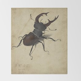 Stag Beetle - Albrecht Durer Throw Blanket