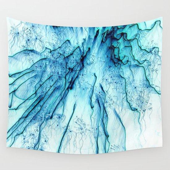 Special Fireworks, aqua Wall Tapestry
