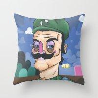 luigi Throw Pillows featuring Luigi by Cody Fisher