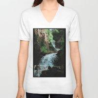 alaska V-neck T-shirts featuring Alaska Waterfall by Leah Flores